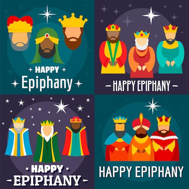 Happy epiphany card Premium Vector