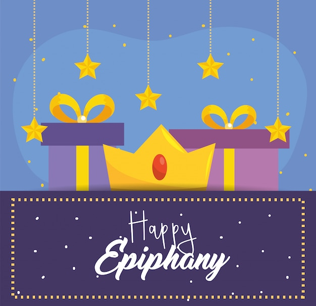 Happy epiphany with crown and prsents with stars Premium Vector