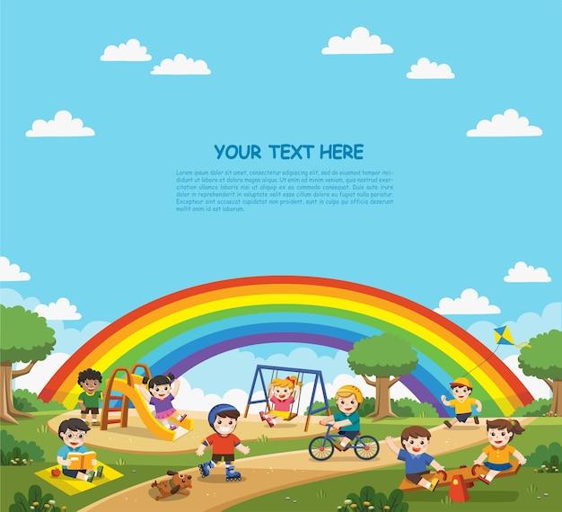 Счастливые взволнованные дети веселятся вместе на детской площадке Premium векторы