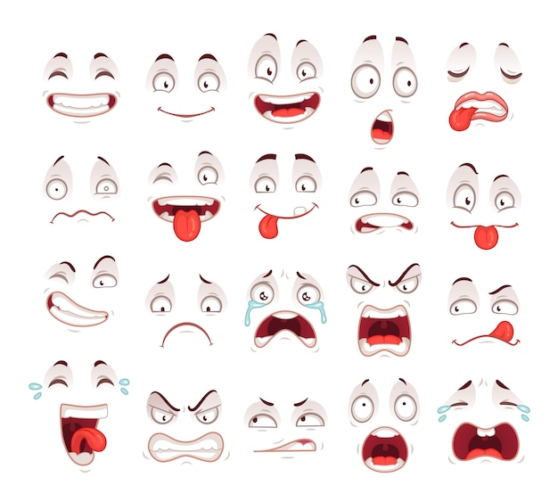 Happy excited smile laughing unhappy sad cry mouth and crazy sick scared face expressions character symbol Premium Vector
