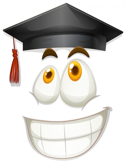 Happy face with graduation cap Free Vector