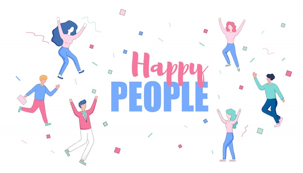 Happy faceless male and female characters dancing. Premium Vector