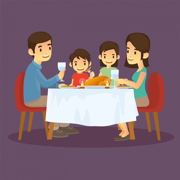 Happy families are dinner in new years eve Premium Vector