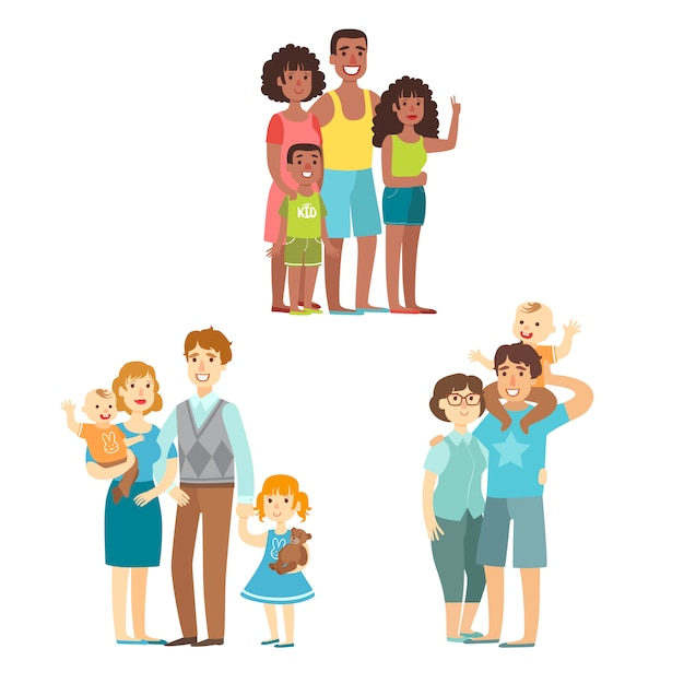 Happy families posing together Premium Vector