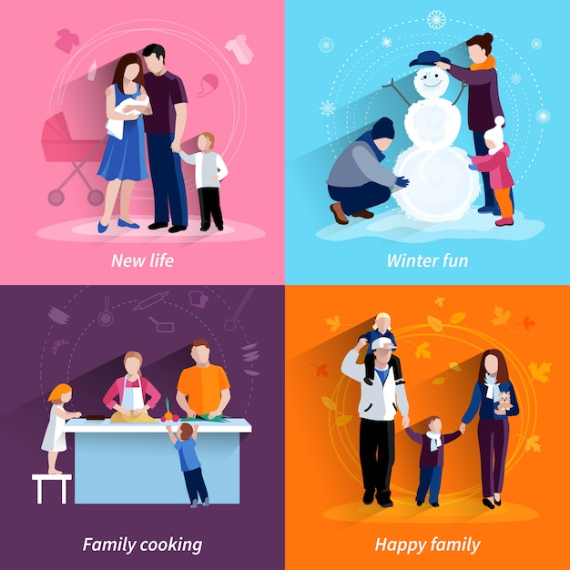 Happy family 4 flat icons square composition banner with cooking and newborn baby abstract isolated vector illustration Free Vector
