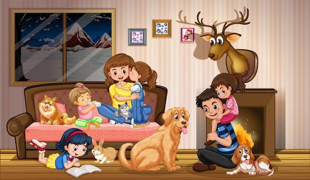 自宅で幸せな家族 無料ベクター