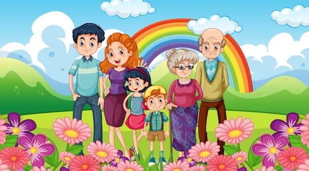 Счастливая семья в парке Бесплатные векторы