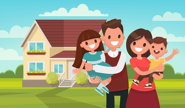Happy family in the background of his home. father, mother, son and daughter together outdoors. Premium Vector
