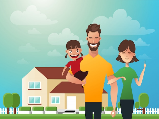 Happy family in the background of his home Premium Vector