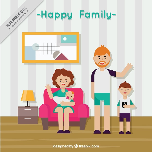 Happy Family Background In Living Room Flat Design Free Vector