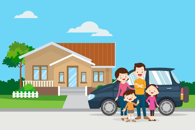 Happy family in the background of their home and car Premium Vector