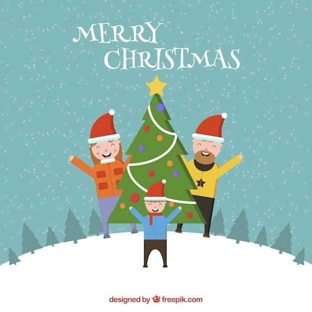 Happy family background with christmas tree Free Vector