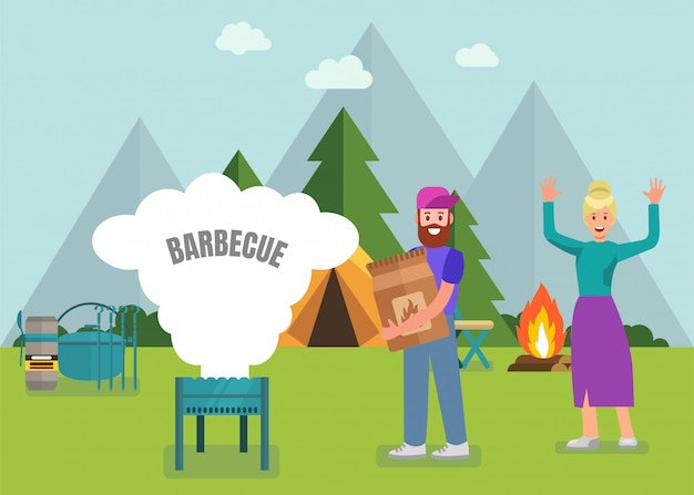 Happy family barbeque with modern equipment Premium Vector