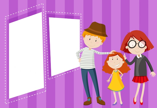 Happy family on blank note Free Vector