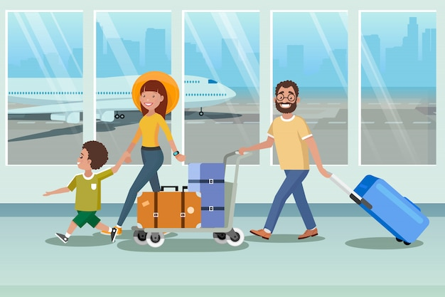 Happy family boarding to plane in airport vector Premium Vector