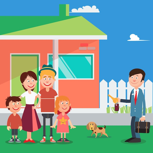 Happy family buying a new house. real estate agent with keys from house. vector illustration Premium Vector