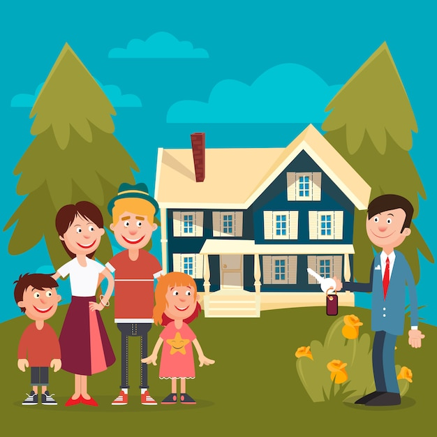 Happy family buying a new house. Premium Vector