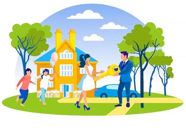 Happy family buying new luxury house in suburb. Premium Vector