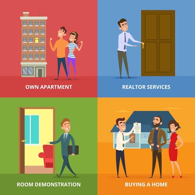 Happy family buying real estate buildings Premium Vector