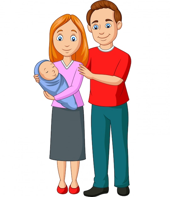 Premium Vector Happy Family Cartoon On White Background