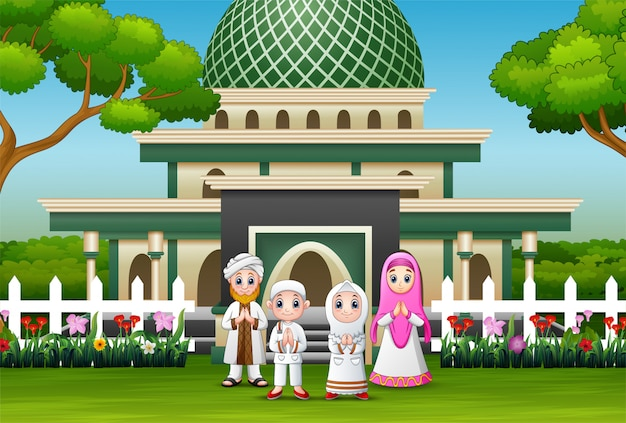 Happy family celebrate for eid mubarak in front the mosque Premium Vector
