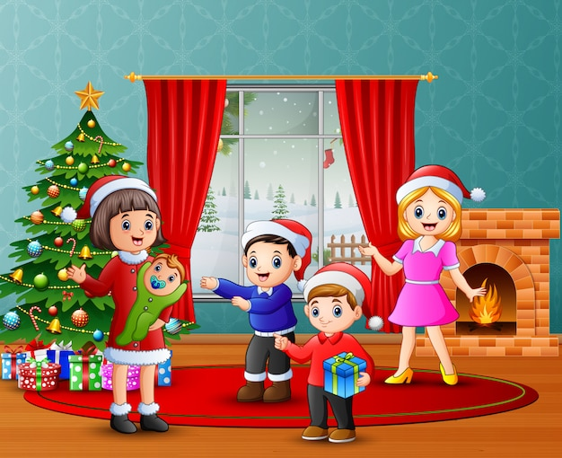 Happy family celebration a christmas in the living room Premium Vector