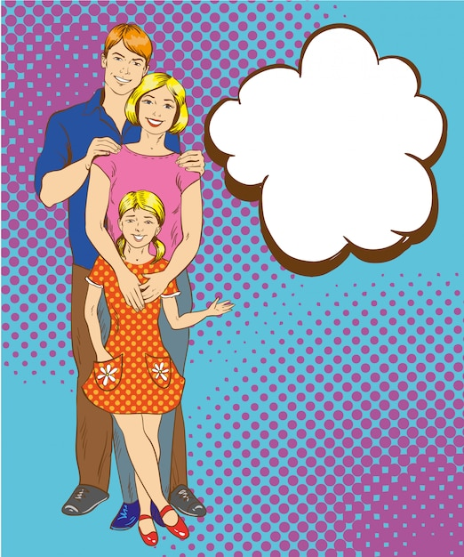 Happy family characters in pop art style. man, woman and their daughter Premium Vector