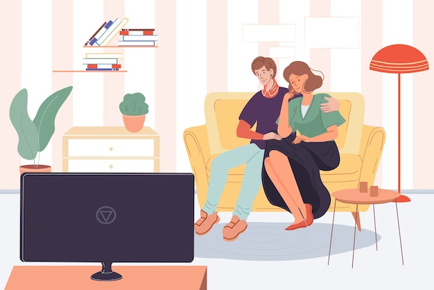 Happy family characters,trendy young people,girl and boy watching tv indoors at home Premium Vector