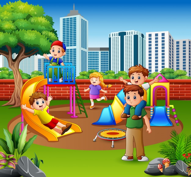 Happy family and children in the playground Premium Vector