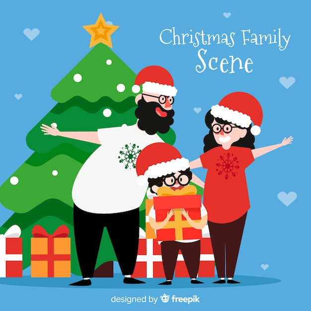 Happy family christmas background Free Vector