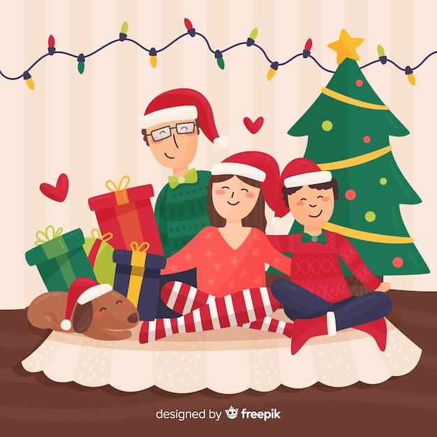 Happy family christmas illustration Free Vector