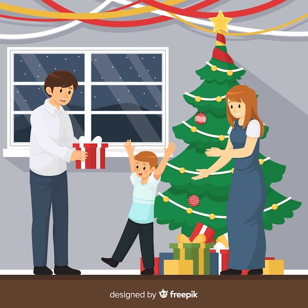 Happy family christmas illustration Free Vector