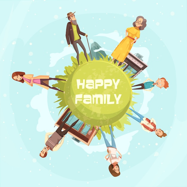 Happy family circular background with relatives figurines of mother, father daughter son grandfather grandmother cartoon vector illustration Free Vector