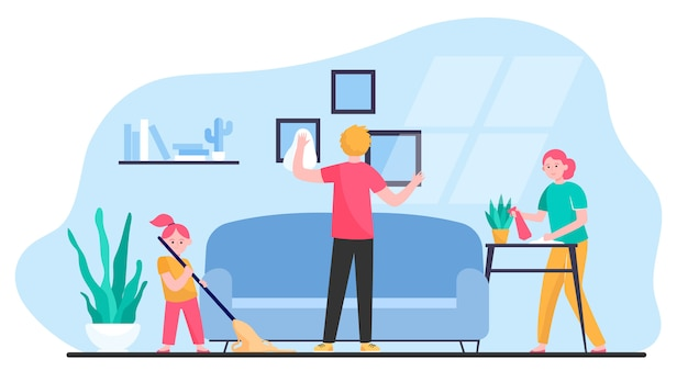 Happy family cleaning apartment Free Vector