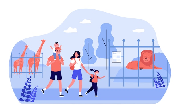 Happy family couple with excited kids walking in zoo Premium Vector