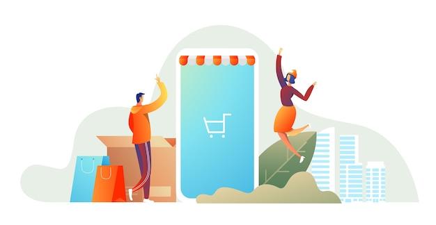 ショッピングと幸せな家族のカップル。食料品のバスケットを持つ男性とパッケージを持つ女性 無料ベクター