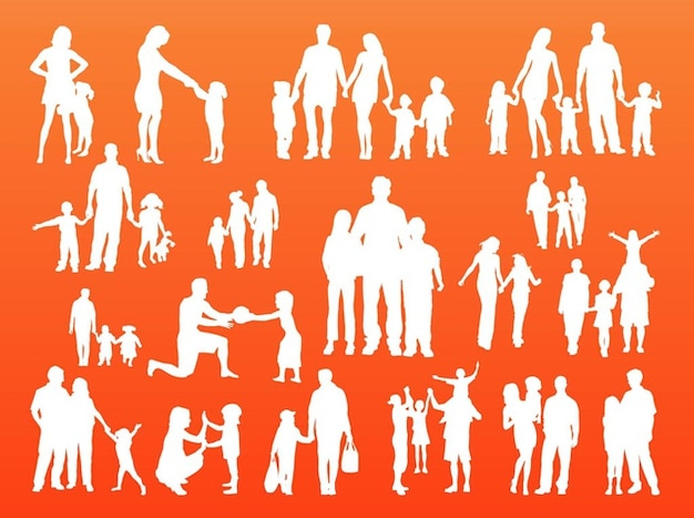 Happy family crowd silhouettes vector