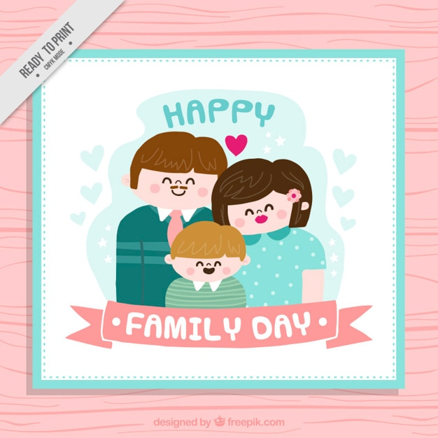 Happy family cute greeting