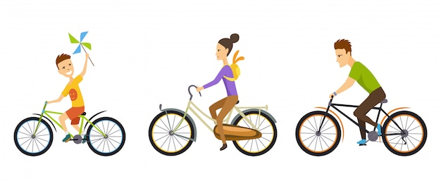 Happy family. cycling along the road in natural scenery. Premium Vector