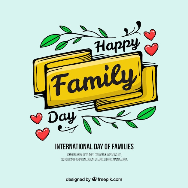 Happy family day background with ribbon and\ leaves