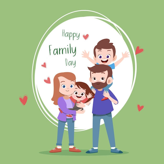 Happy family day card greeting vector illustration Premium Vector