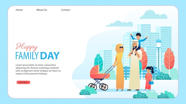 Happy family day cartoon landing page template Premium Vector