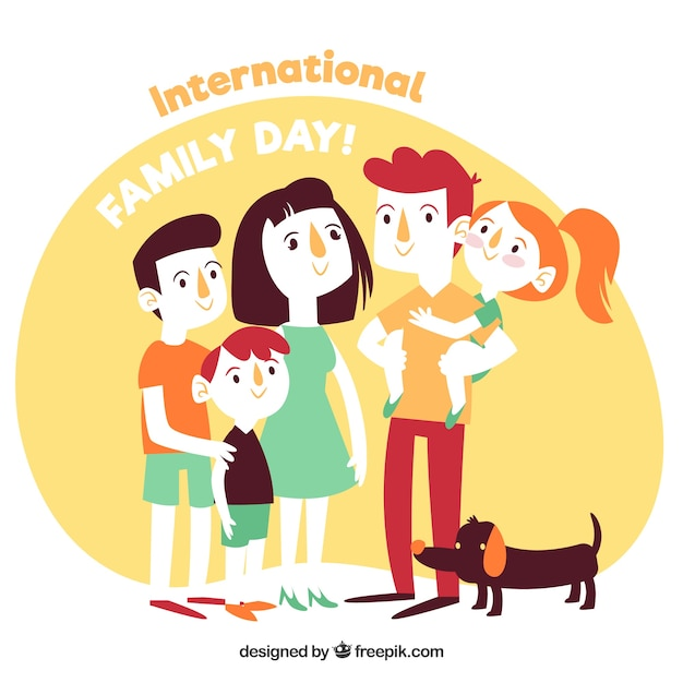 Happy family day in hand drawn style Free Vector