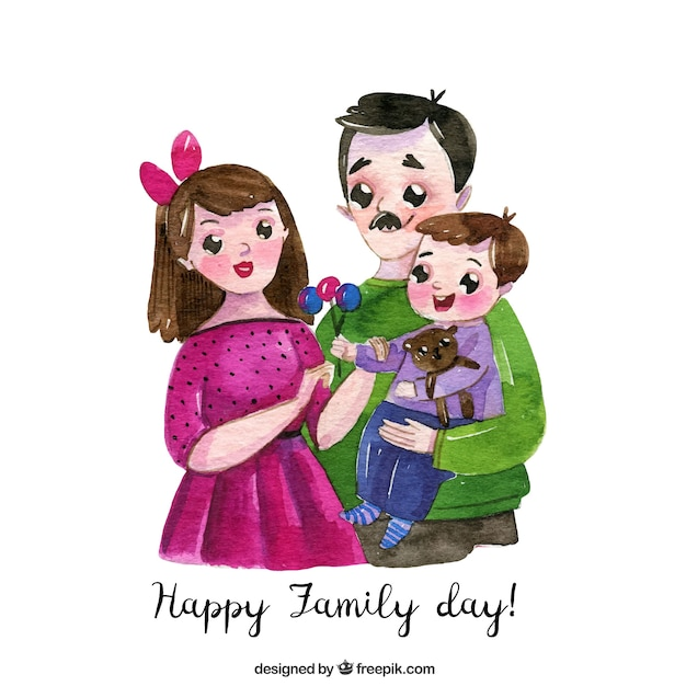 Happy family day in watercolor style