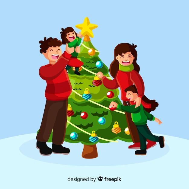 Free Vector Happy Family Decorating Christmas Tree