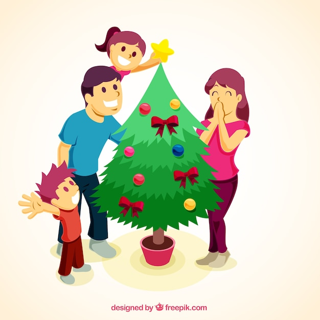 Happy family decorating the tree background  Free Vector