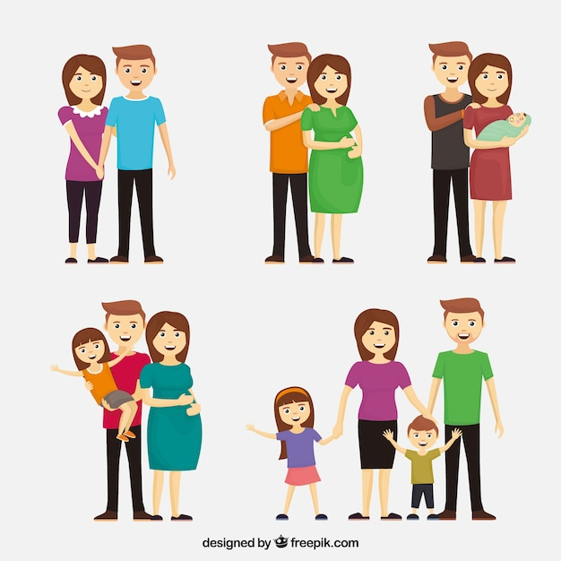 Happy family in different life stages with flat design Free Vector