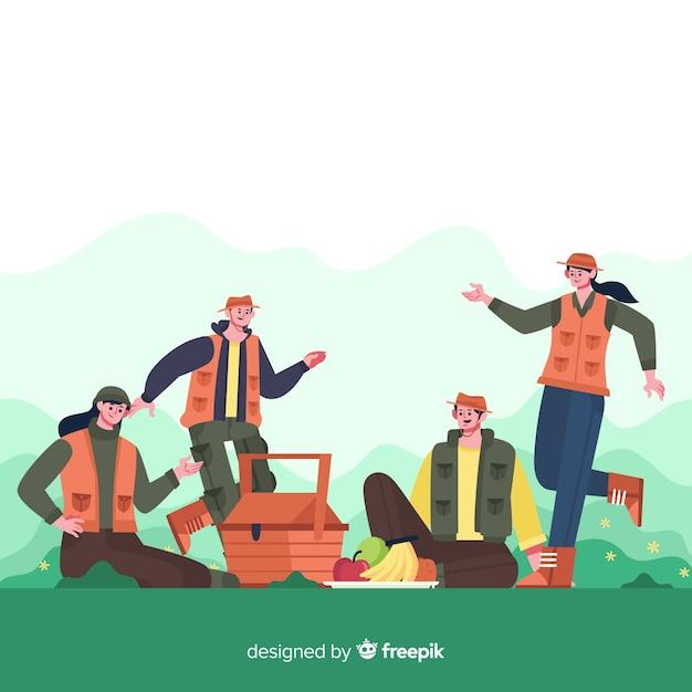 Happy family doing outdoor activities. character design Free Vector