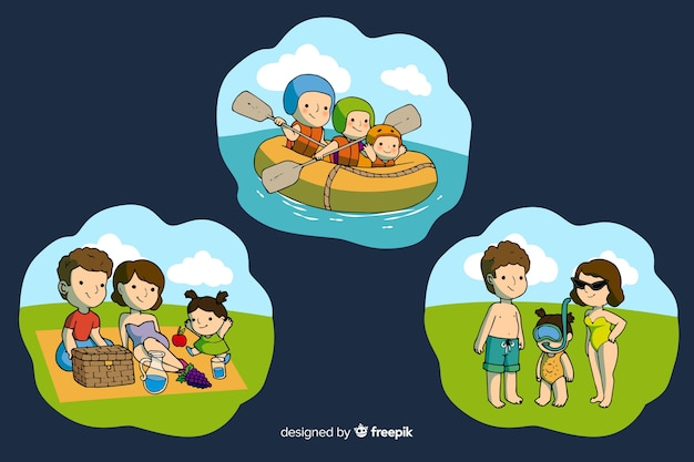 Happy family doing outdoor activities. character design Free Vector