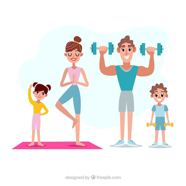 Happy family doing sport with flat\ design